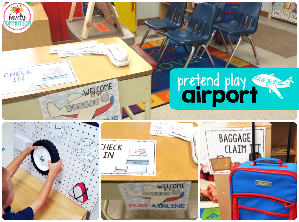 Pretend Play airport for transportation preschool unit.