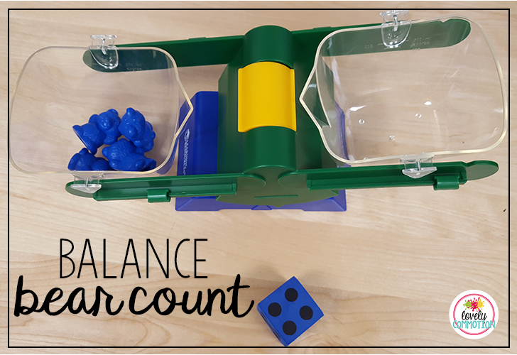 Counting game with balance scale and counting bears. Perfect for subitizing and counting with 1-1 correspondence.