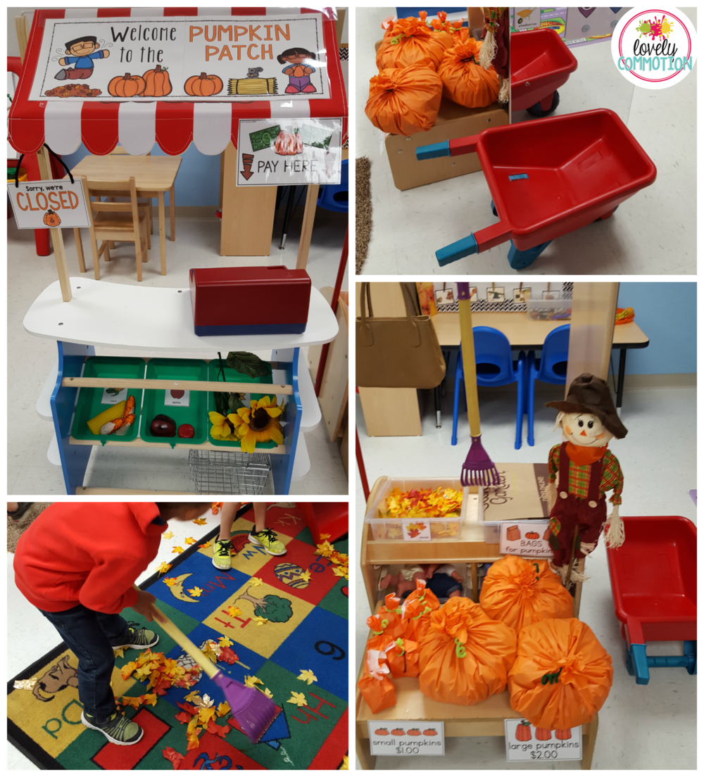 Create a pumpkin patch in your dramatic play center! Pretending in preschool encourages social interaction, writing and creative thinking.