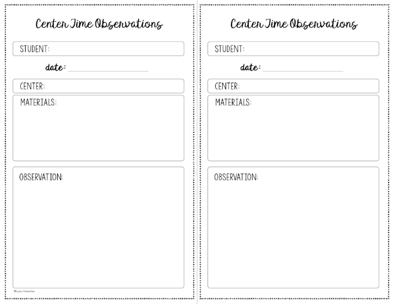 Observation Form For Preschool Lovely Commotion