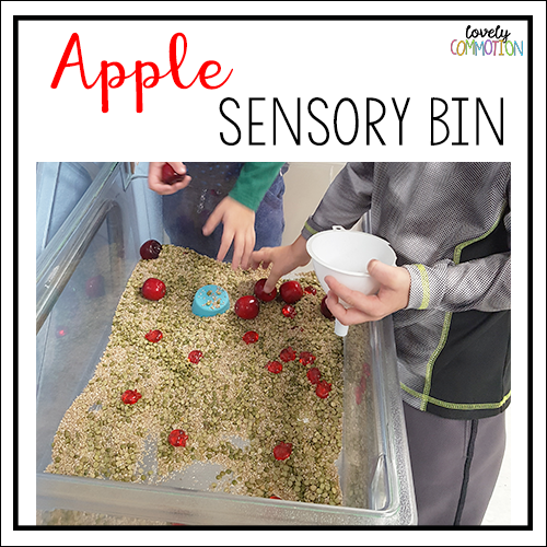 apple sensory bin preschool