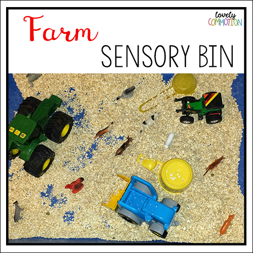 farm theme sensory tub preschool