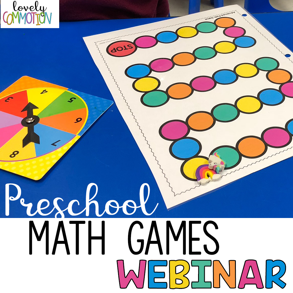 Preschool Math Games Webinar Replay - Come learn...-10 Types of Math Games for Preschool and which skills they teach-The 'WHY' of game playing in preschool-Benefits of game playing vs. worksheet learning-FREE game boards to use in your classroom