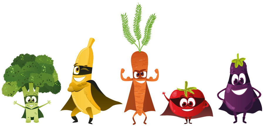 Artist Lucie Guyard's charming depiction of vegetable superheroes