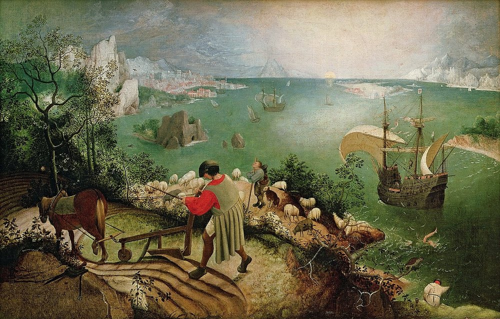Bruegel's  The Fall of Icarus  (if you can't find Icarus' legs, that would be part of the problem)