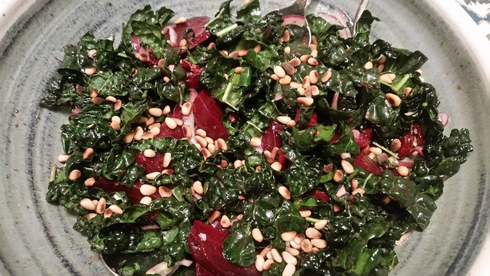 Beet, Kale and Pine-Nut Salad