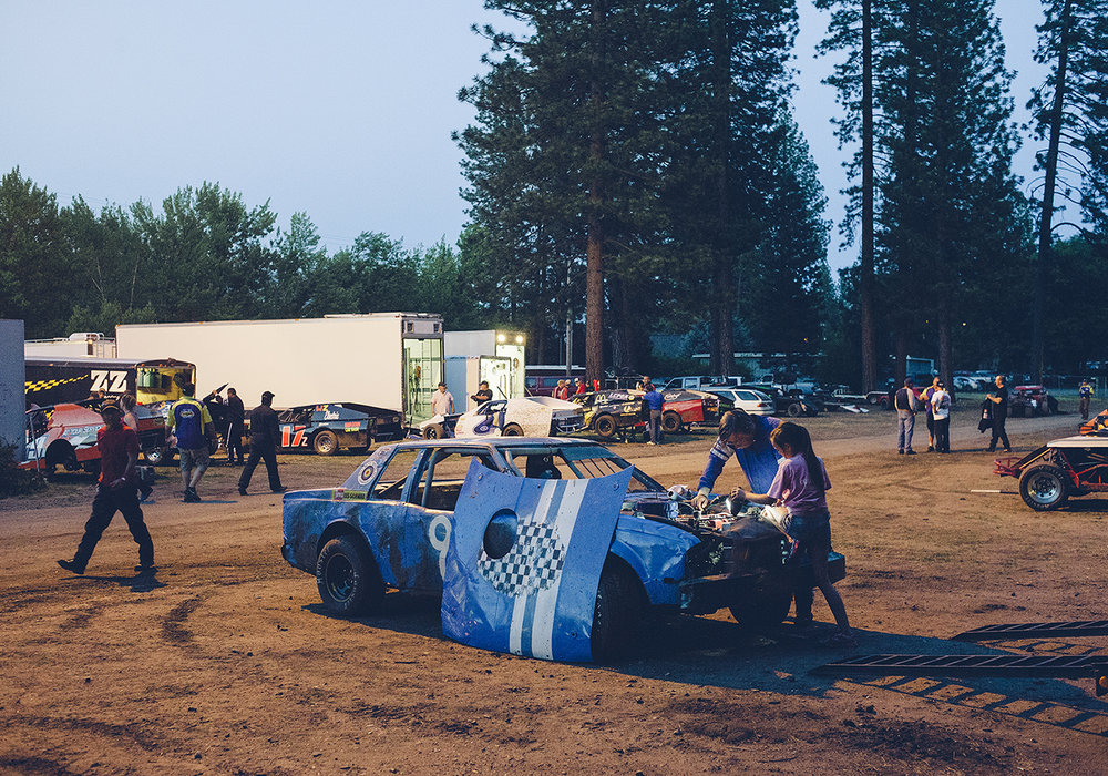 In the pits at American Valley Speedway.