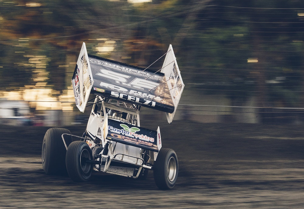 Dominic Scelzi of Fresno makes a qualifying lap at Hanford driving his winged 360 sprint.