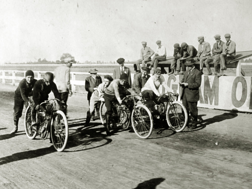 One of the more popular races was the novelty race where the racers had to stop after each lap to eat pie or drink a bottle of soda pop.