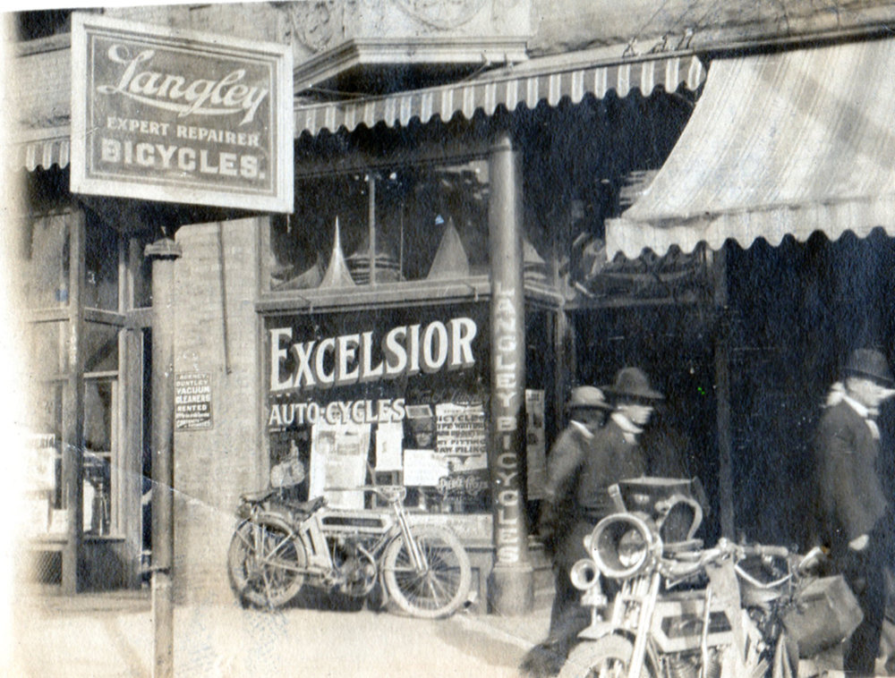 Langley's shop in circa 1908 after he became one of the first agents in the country for Excelsior motorcycles.