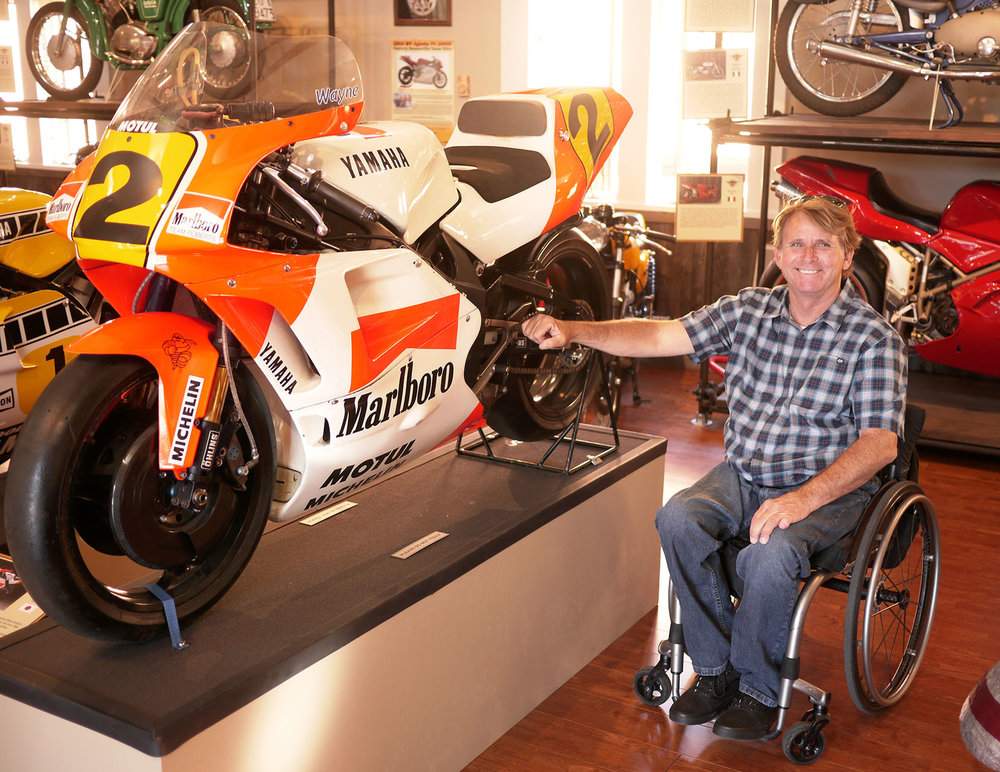 Three time world champion Wayne Rainey and the bike he rode to his first world championship in 1991. The fearsome two stroke Yamaha YZR500. Rainey is still very involved in racing as the supremo of the new racing organization Moto America.