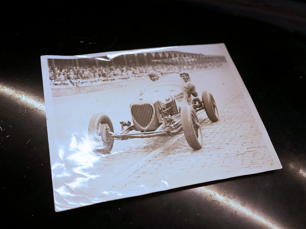 Period shot of Kelly Petillo and riding mechanic Jimmy Dunham in the original Gilmore speedway special during the 1935 Indianapolis race.