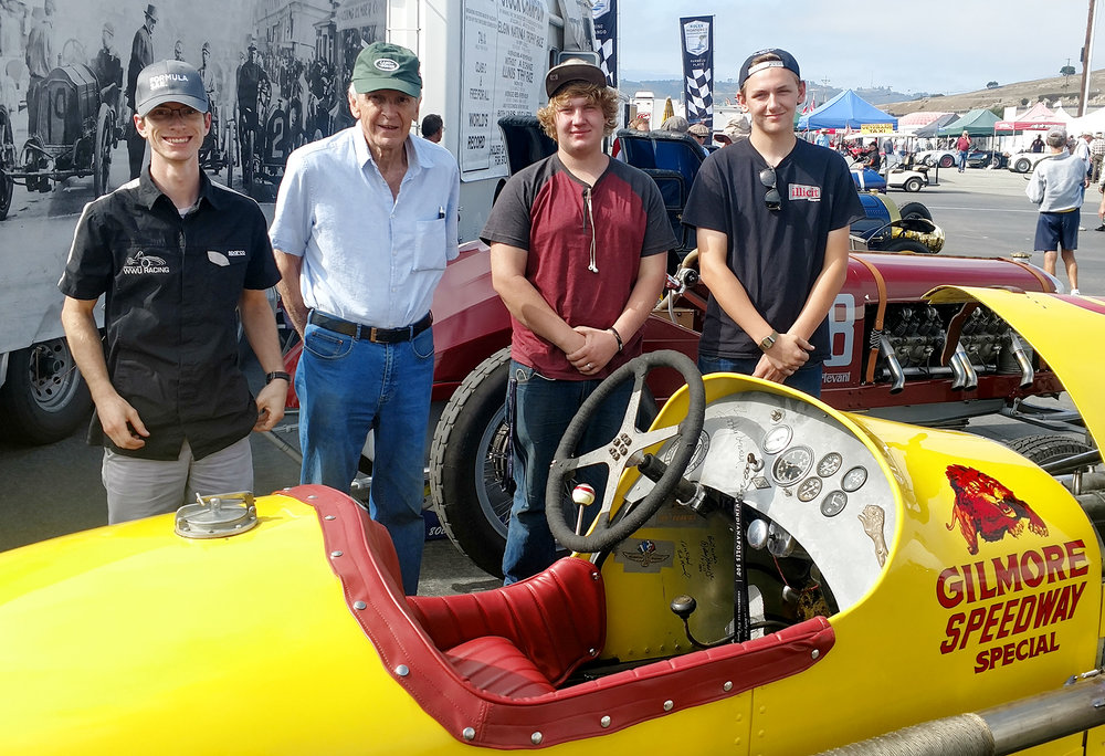 L. to R. Mitch Hooper, George Wingard, Brandon Clanton and Brandon Chaffing. Long and the students displayed the car in Wingard's pit area during the 2017 Rolex Monterey Motorsports Reunion. (photo courtesy of James Long)