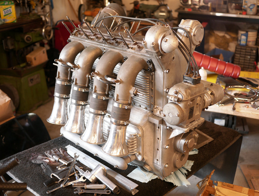 "255 Offenhauser ""sidewinder"" engine being rebuilt in Long's shop for the Bill Smith collection."
