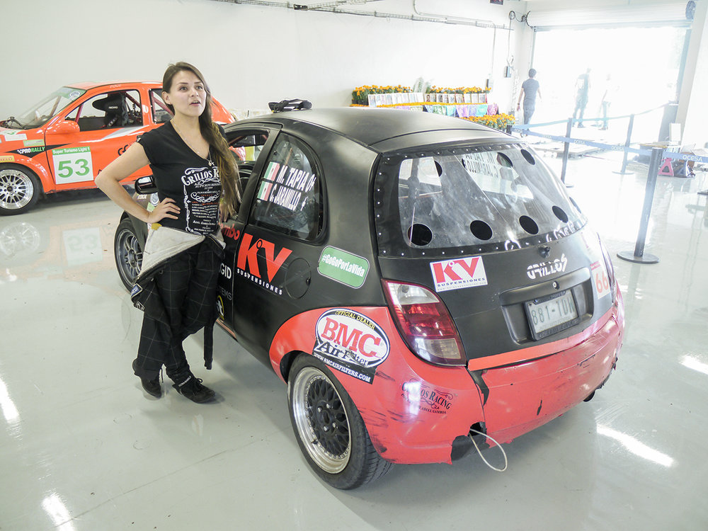 Driver Marta Tapia in between races. There are a number of women drivers in the Super Touring series.
