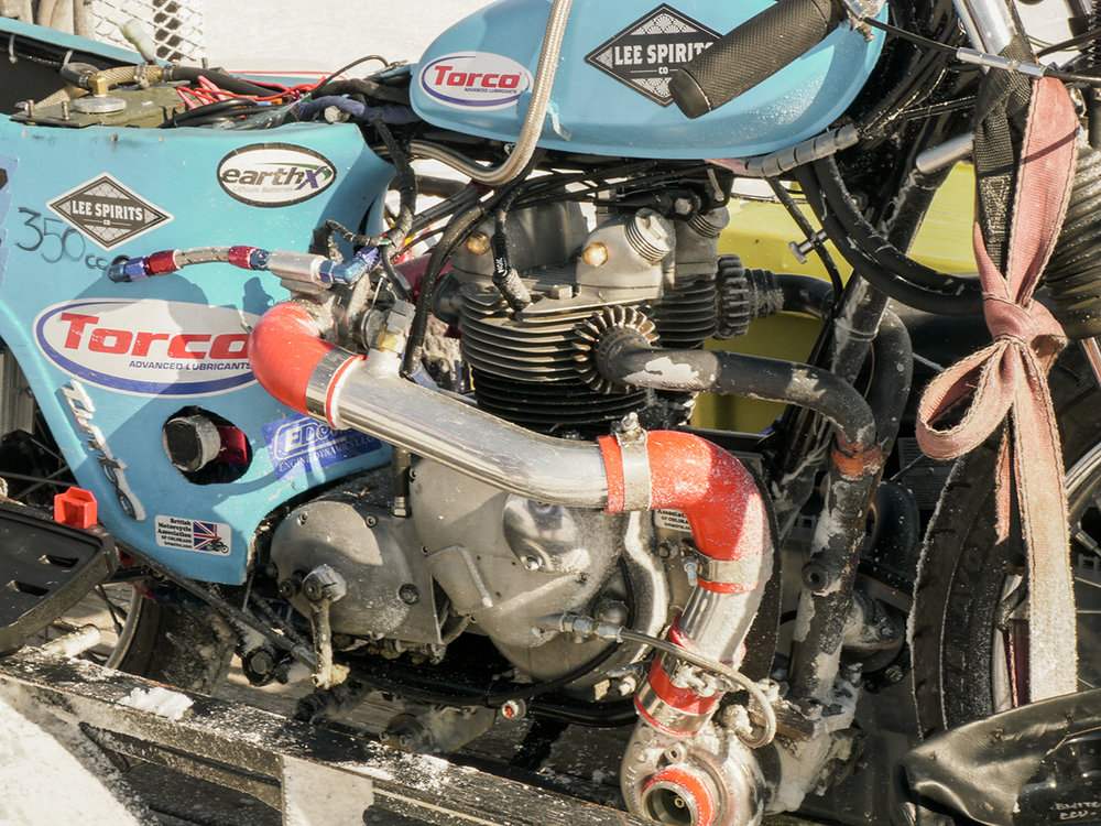 John Stoner's blown Triumph T100 all the way from Colorado Springs. You don't see bathtub Triumph race bikes too much. Most of the tubs were chucked right off the bat.