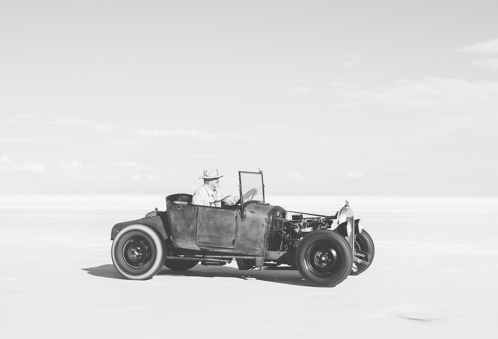 The author and his '27 roadster out on the salt.