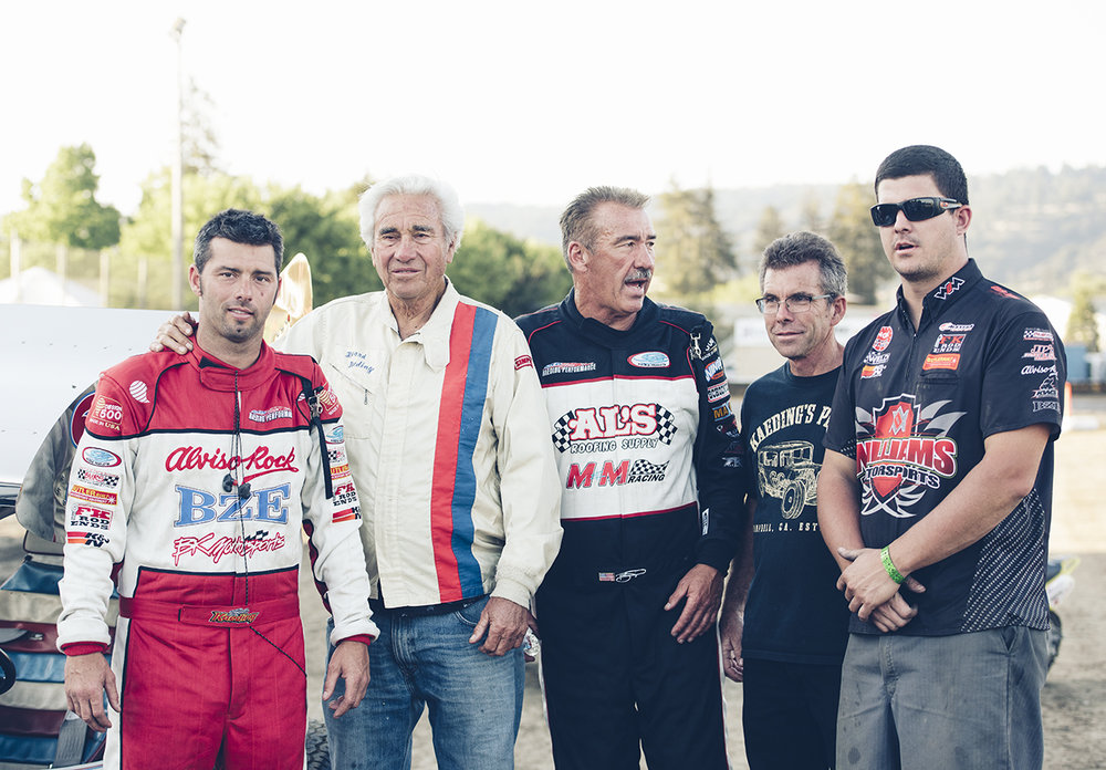 Three generations: the boys stand for a photo during the 2015 Howard Kaeding Classic at Ocean Speedway in Watsonville, CA, (left to right) Bud, Howard, Brent, Joel and Adam.