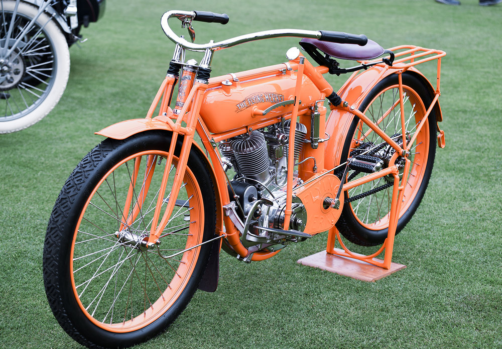 1913 Flying Merkel board track racer of Douglas and Marian McKenzie. As it turns out Doug and I went to high school together. He bought this bike out of Australia. It was his first motorcycle and the bike he learned to ride on.