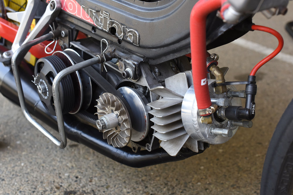 Derbi mill on Barry Torno's Motomatic team bike. The team made the head themselves. These bikes proved the class of the weekend. That is the variator belt drive on the right side of the engine.