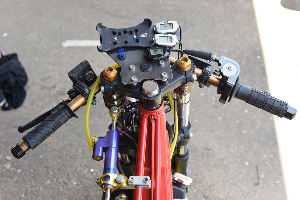 The cockpit of one of the Motomatic bikes.