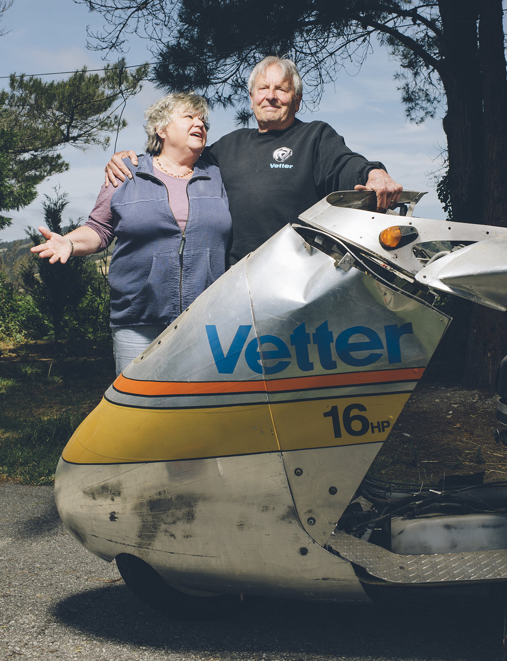 Craig and Carol Vetter. Carol had a long career at Vetter Fairings and is an avid motorcyclist herself.