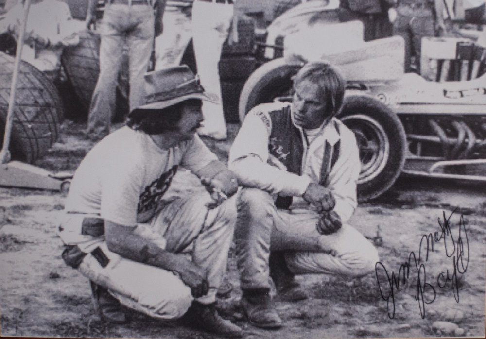 Gary Patterson (left) and Jimmy Boyd talking shop at Calistoga. (Boyd family archive)