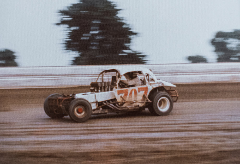 Boyd driving a big-block modified in New Jersey, 1973.