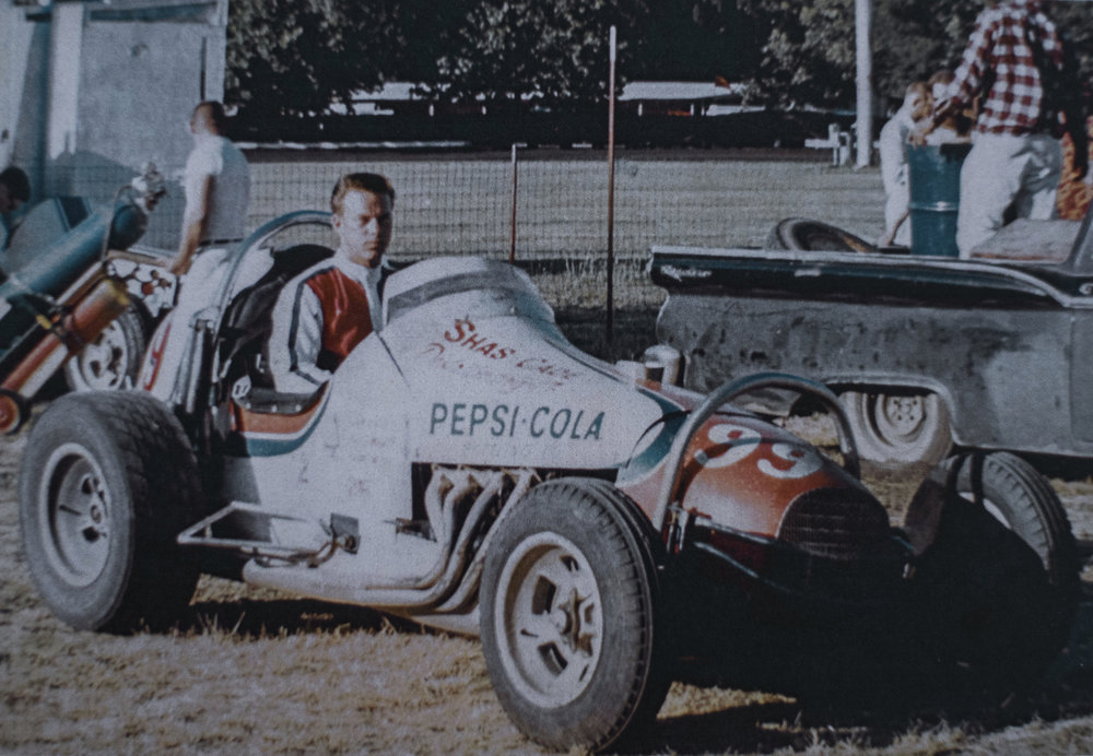 Boyd in a sprint car, Calistoga Speedway, 1967.