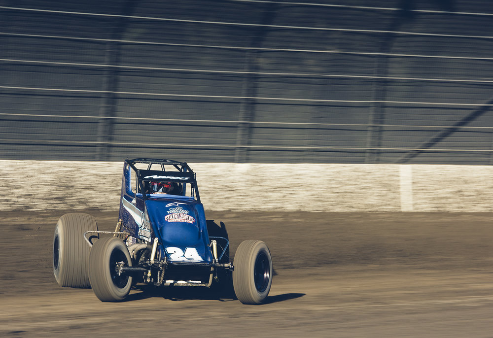 Abreu powers into turn three in his USAC wingless sprint at Calistoga, 2015.
