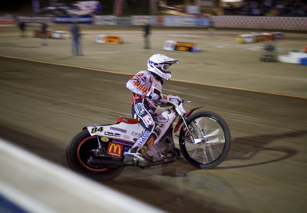 World long-track champion Martin Smolinski hangs it out exiting the back straight, way out in front
