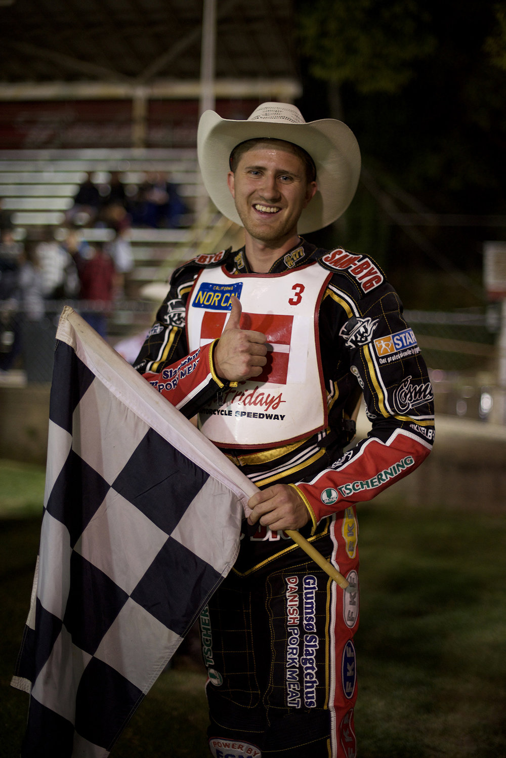 Mikkel Beck came all the way from Denmark to race and came home with a trophy and a cowboy hat. Love the Danish Pork Meat sponsorship.