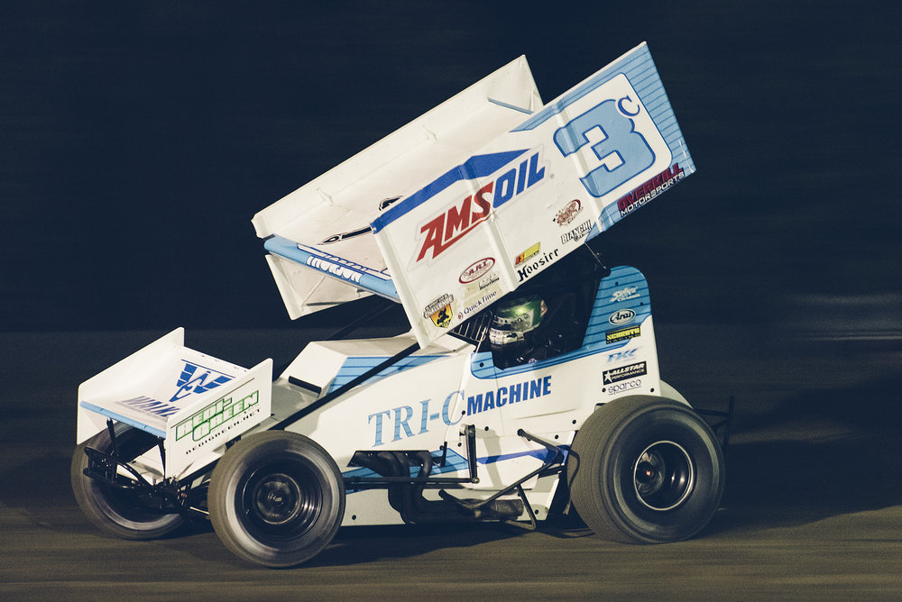 Tanner Thorson at the wheel of the Tri-C Machine 410 sprint car at Stockton Dirt Track, November 2018.