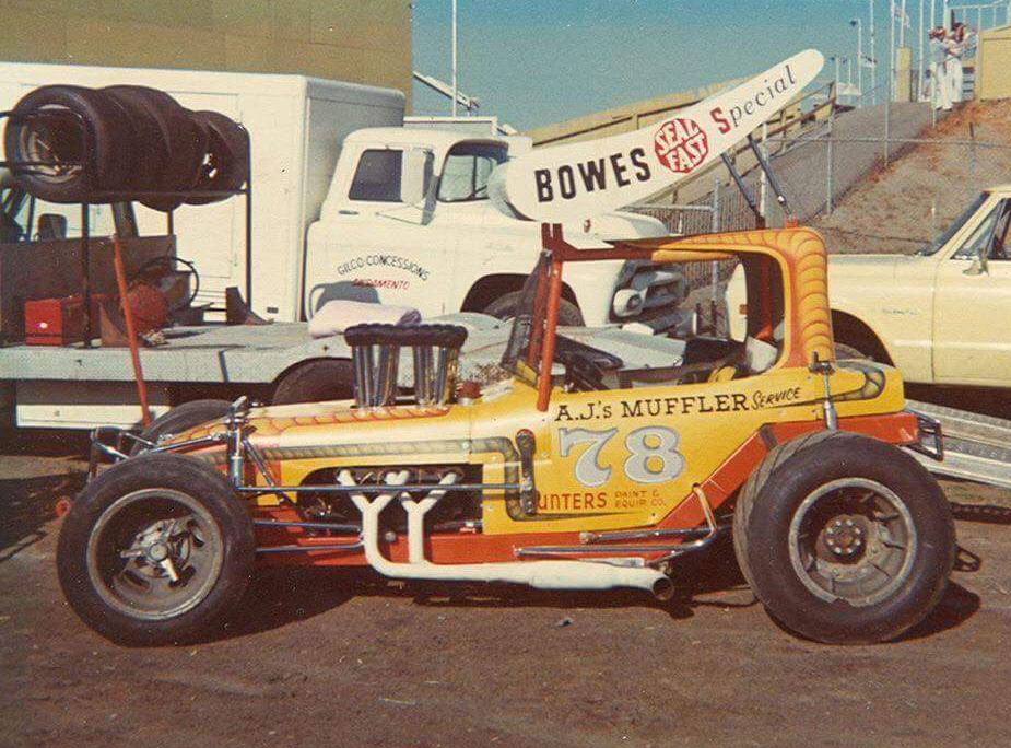 Where it all started: the Ed Watson super modified at West Capital Raceway. (courtesy Sills archive)