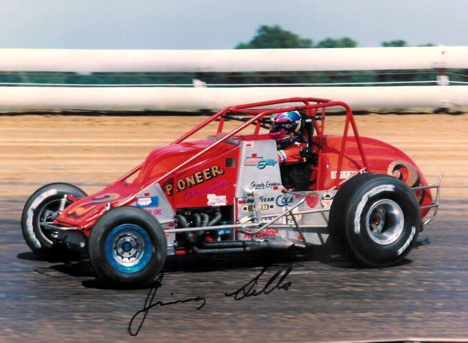 At the wheel of the Bob Consani-owned Silver Crown machine, 1992. (courtesy Sills archive)