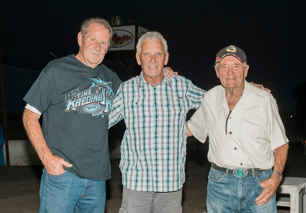 Leroy Van Conett, Sills and Wally Baker at Stockton Dirt Track, 2018.