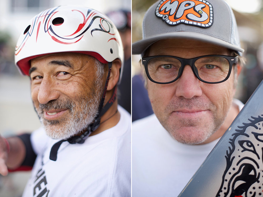 Two old friends, Steve Caballero and Bryce Kanights up close and personal.