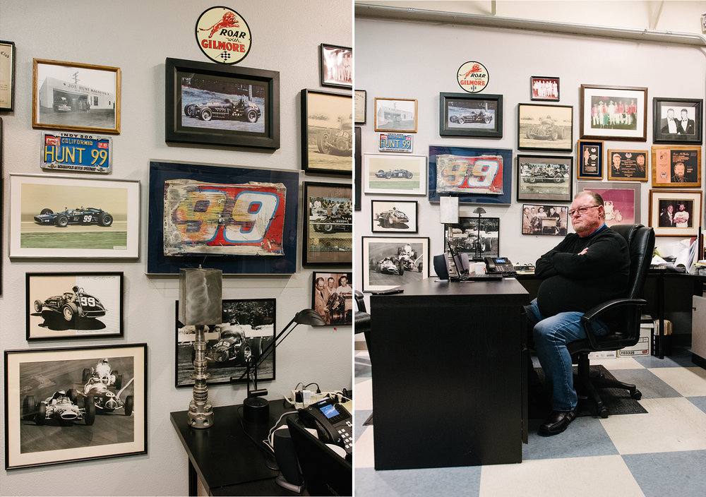 Hunt's Roseville office is filled with mementos chronicling his family's life in motorsports.