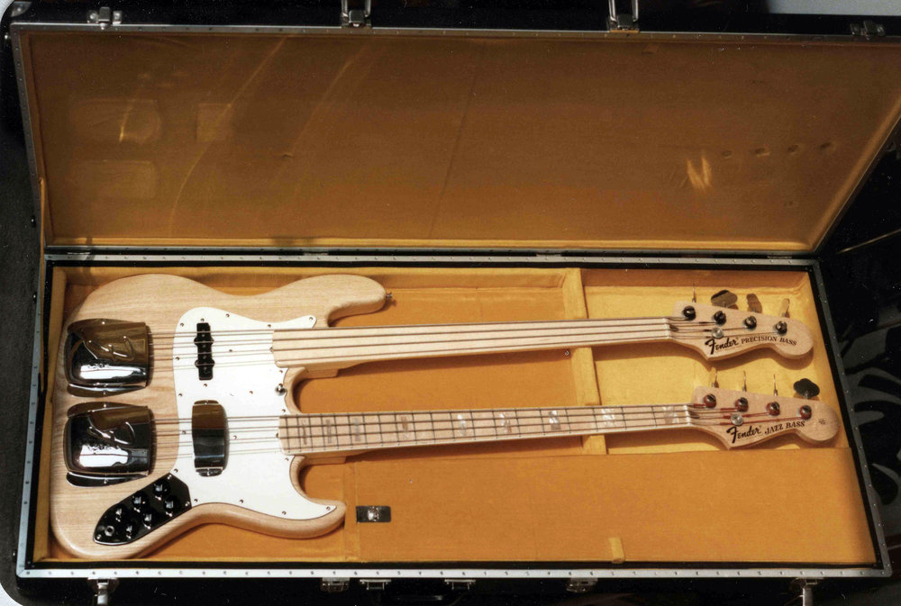The first Bass Pfändler constructed was a double necked version of a Fender.