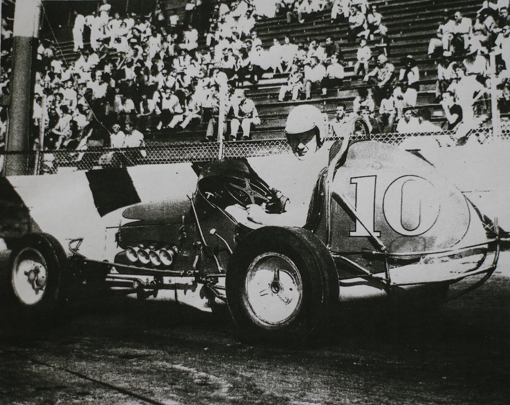 Rapp at the wheel of his Porter Goff Offy at Airport Speedway in Fresno, 1962. (Rapp family archive)