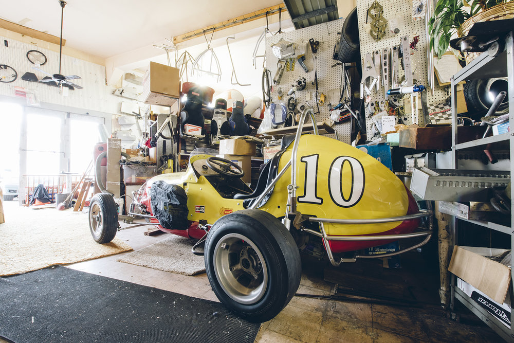 Rapp's restored Offy midget at his race shop in San Francisco.