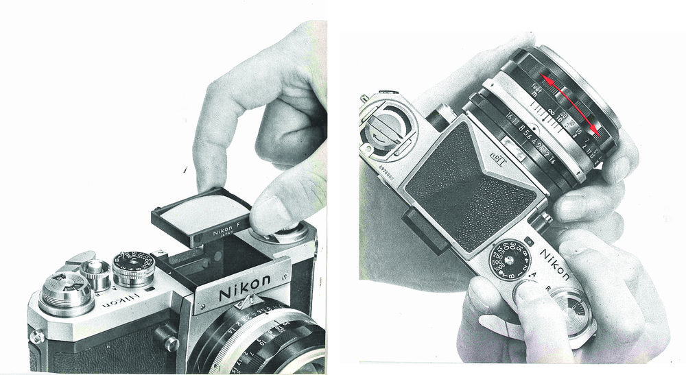 Interchangeable viewing screens are accessed by removing the viewfinder.