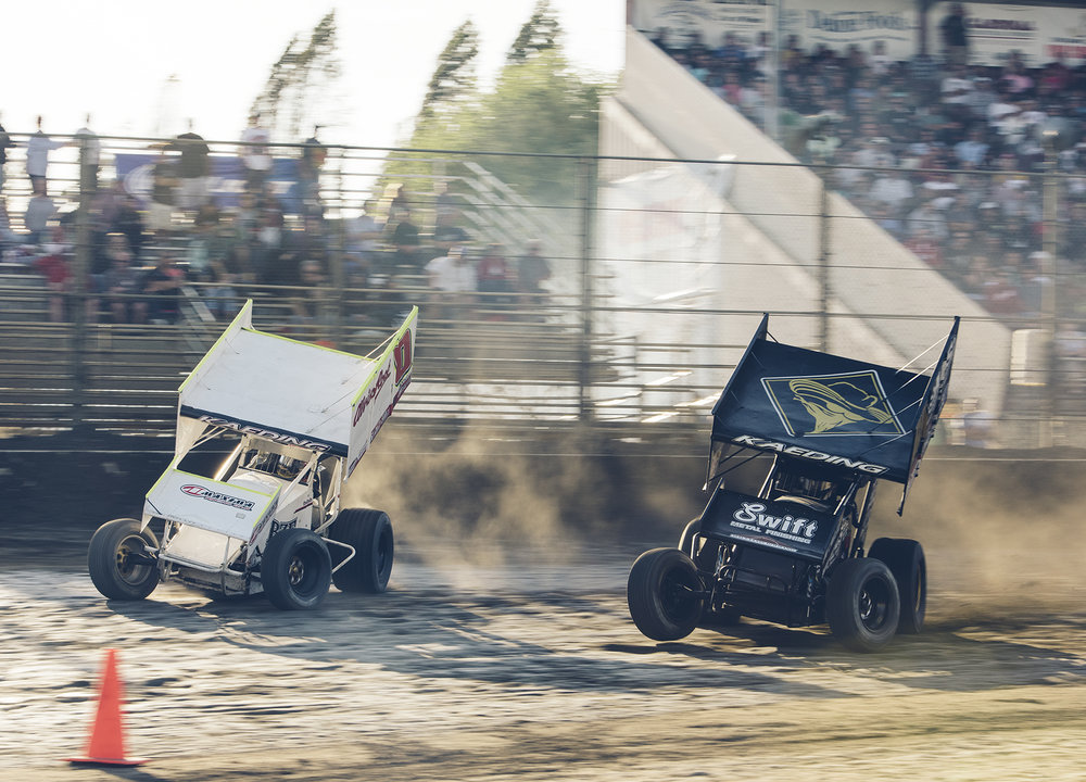 Bud and Brent charge down the front straight at Watsonville, during the Howard Kaeding Classic, 2015.