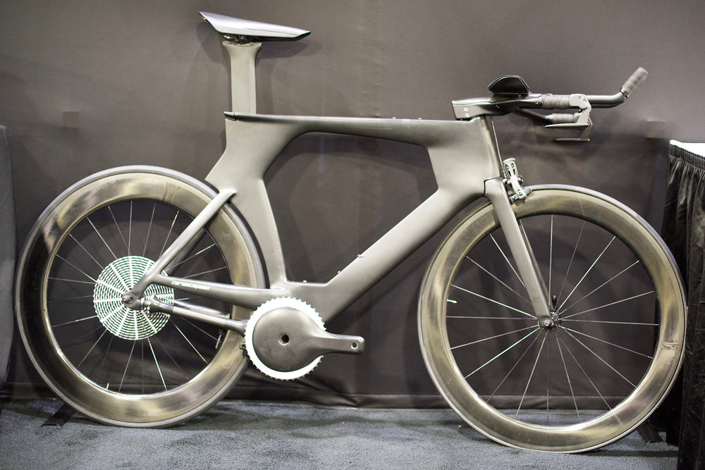 High-end Danish bearing makers CeramicSpeed partnered with the engineering department at the University of Colorado Boulder to design this carbon fiber shaft drive bike with the goal of reducing friction drag in the drive train. This was one of the more space-age designs at NAHBS.