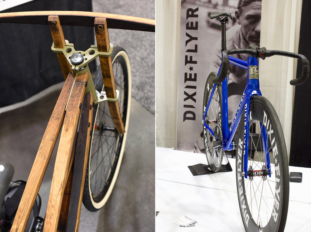 Opposites attract. A bike frame made from wine barrel staves contrasts nicely with the Dixie Flyer track bike.