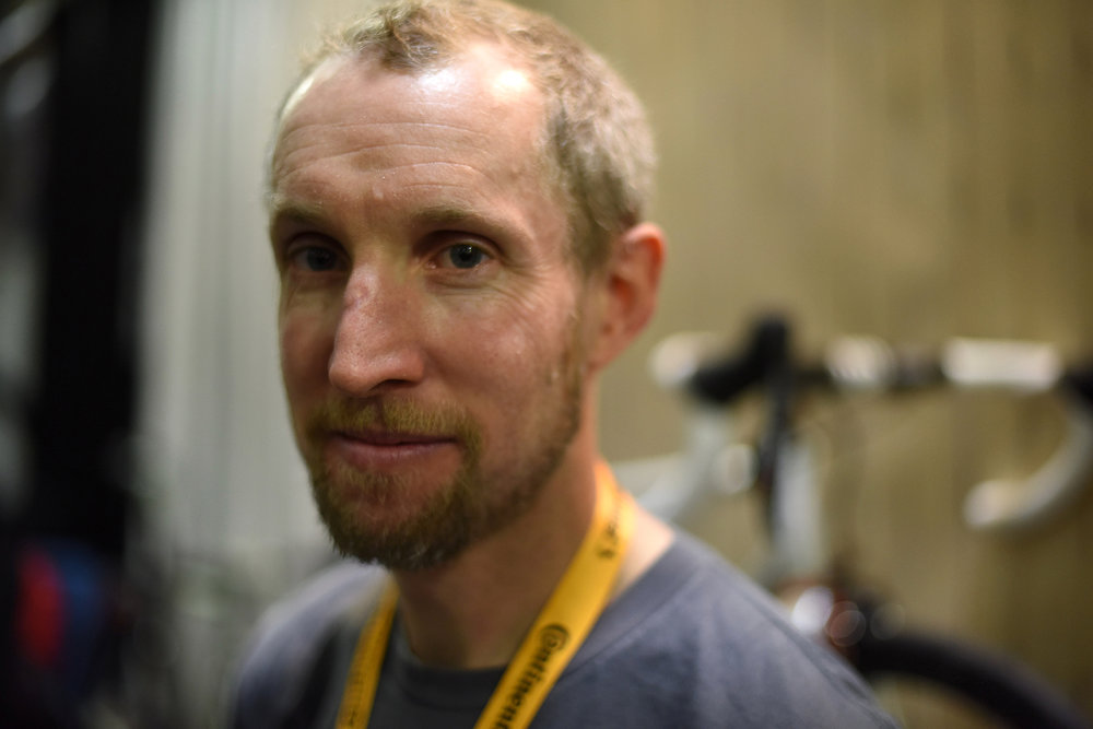Frame builder Rob English (English by name and nationality) came from Oregon to fill a large booth with beautiful bikes made in his shop.