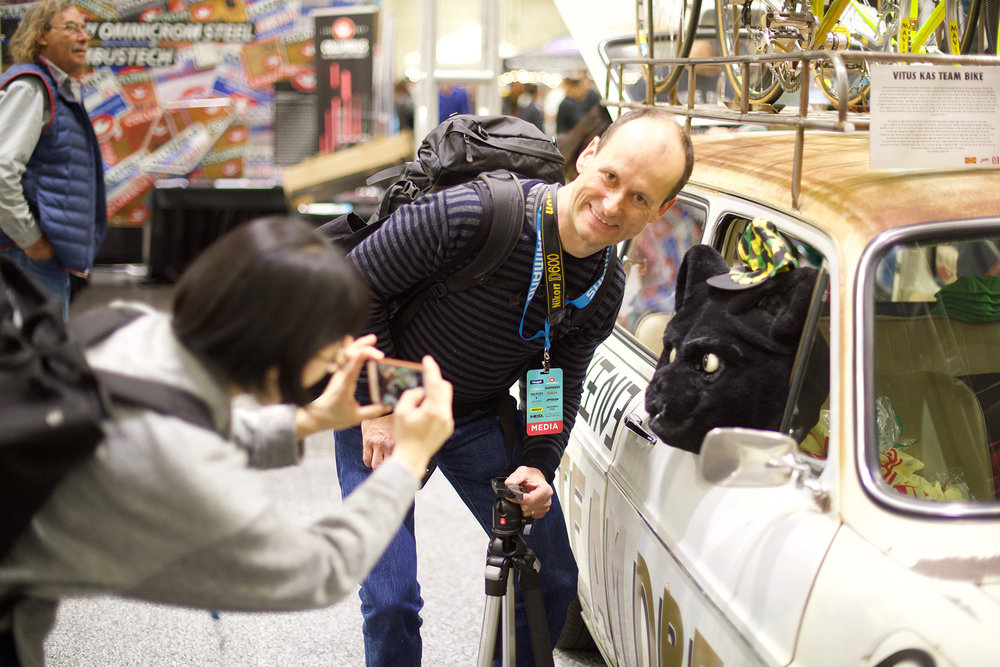 Jan Hein is the editor of the highly respected  Bicycle Quarterly  magazine. He and photographer Natsuko Hirose came to NAHBS to shoot photos and have some fun with the wildlife.