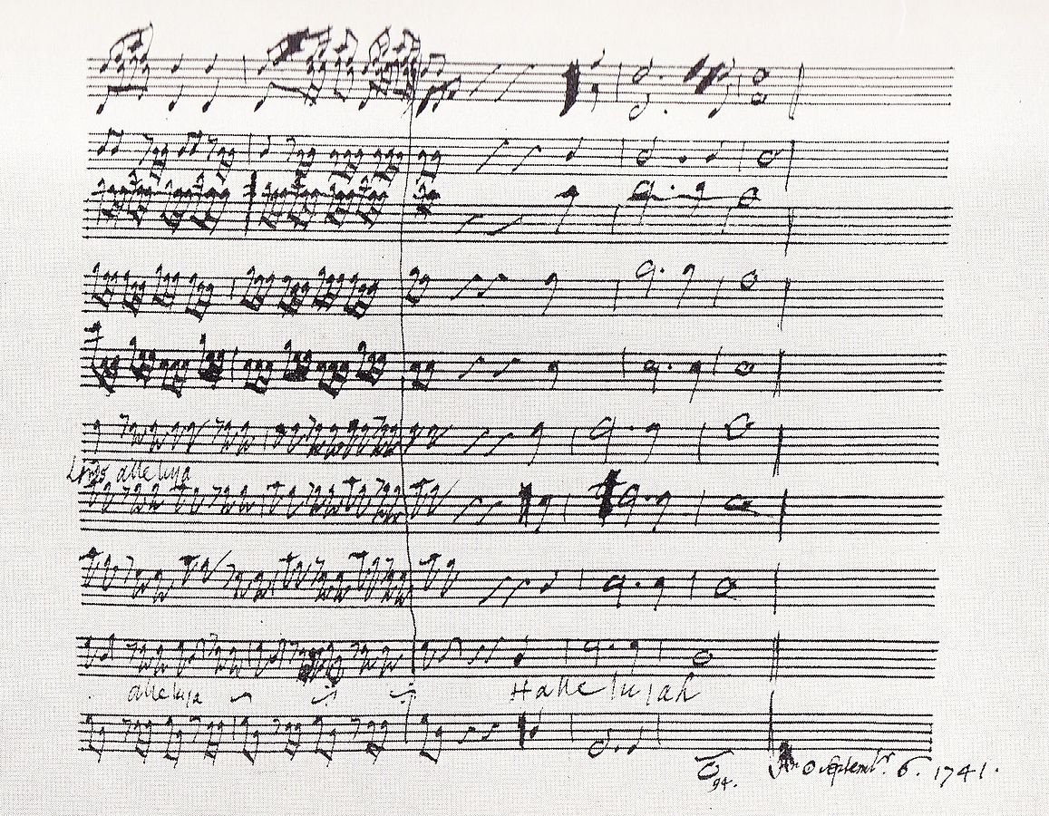 """Hallelujah score 1741"" by George Frideric Handel 1685–1759 - Scanned from The Story of Handel's Messiah by Watkins Shaw, published by Novello & Co Ltd, London 1963. Licensed under Public Domain via Commons"