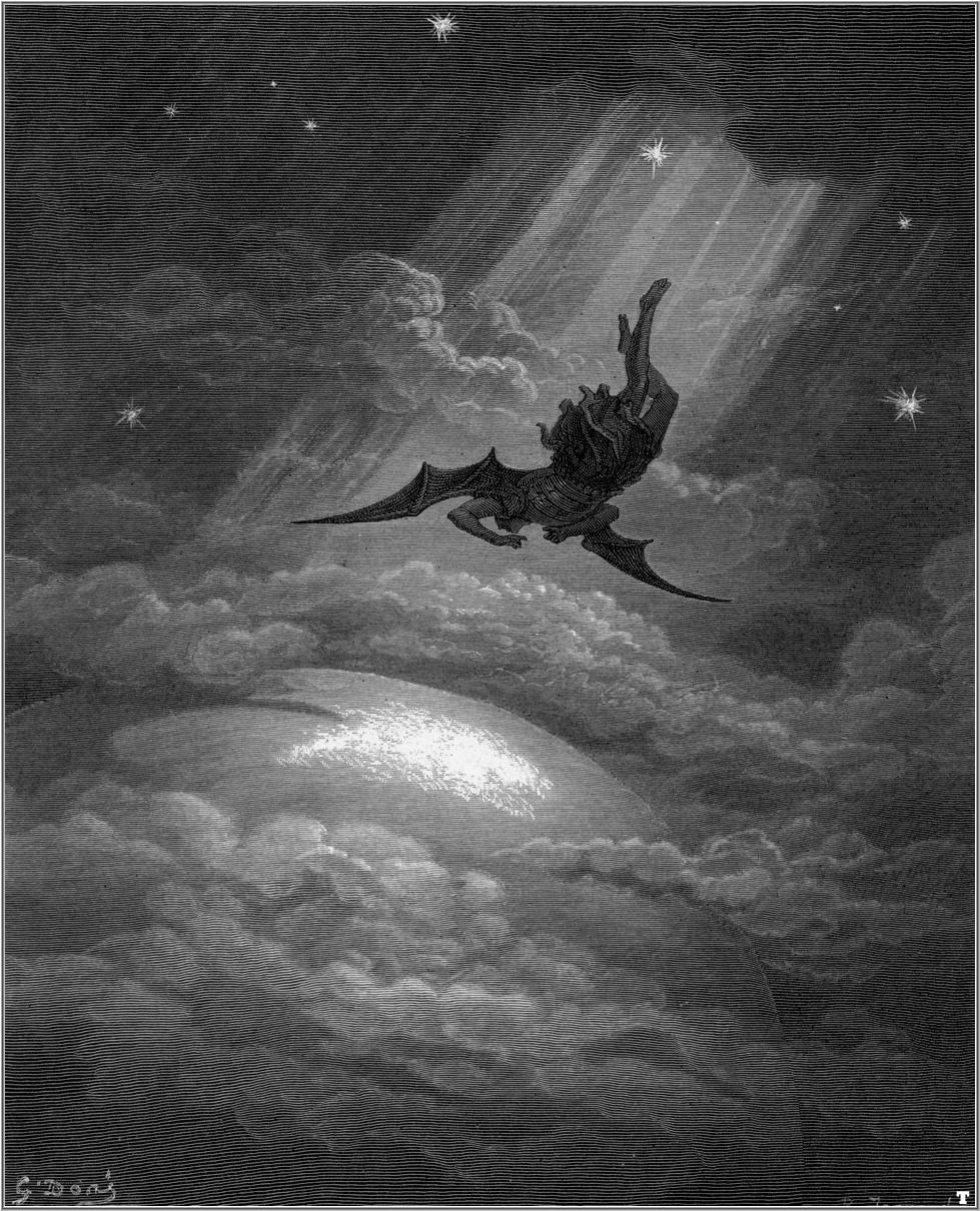 Illustration for John Milton's Paradise Lost by Gustave Doré, (1886) showing Lucifer's descent and his deterioration into Satan