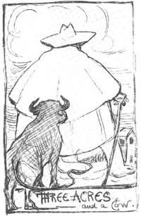 "Self-portrait of G. K. Chesterton based on the distributist slogan ""Three acres and a cow""."